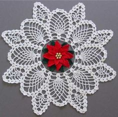 "Watch Maggie review this beautiful Poinsettia Pineapple Doily Crochet Pattern! Design by: Maggie Weldon Skill Level: Intermediate Size: 17"" in diameter. Materials (for each): Crochet Cotton, size 10 W"