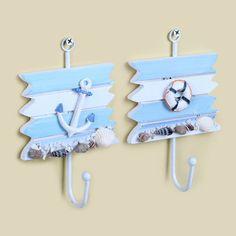 PINJEAS 2PC Mediterranean style Wooden Hooks For Kitchen Organizer Bathroom Accessories Key Hanger Home Decor Holder Hook Racks  #Affiliate