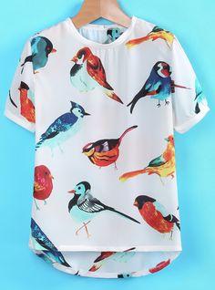 T-Shirt mit Vögel-Druck, weiß 8.27