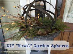 diy metal garden spheres – frenchbluecottage… – metal of life Diy Garden Projects, Garden Crafts, Outdoor Projects, Metal Projects, Garden Ideas, Metal Garden Art, Wooden Garden, Metal Art, Garden Spheres