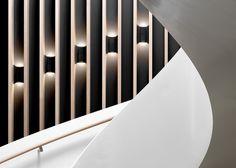 Image 28 of 33 from gallery of Joachim Herz Foundation / Kitzmann Architekten. Photograph by Kitzmann Architekten With Heiner Leiska Interior Lighting, Lighting Design, Planer, Foundation, Minimalist, Stairs, Interior Design, Gallery, Photograph