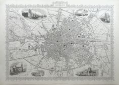 This double sheet map of Dublin in 1850 features vignette illustrations of various landmarks, including the Custom House, Four Courts, Nelson's Column, St.Patricks Cathedral, Kings Bridge and the North Wall Lighthouse. The map extends from the Navan Rd on the North Side to Portobello Barracks on the Southside. It extends from Kilmainham in the West to Ringsend in the east of the city.