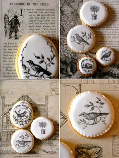 Cutest cookies... Done by nice icing - use any rubber stamp, food coloring, and hand finishing them with edible ink pens.