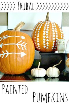 Déco tribale citrouille - Tribal painted pumpkins for fall and Halloween Fall Pumpkins, Halloween Pumpkins, Halloween Crafts, Halloween Decorations, Fall Decorations, Halloween Costumes, Autumn Crafts, Holiday Crafts, Holiday Fun