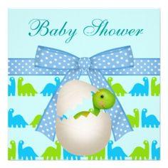 Just Hatched!  Dinosaur Baby Shower Invitation.