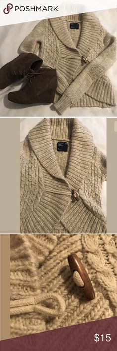 "AEO Chunky Fuzzy Button Hook Cardigan Sweater Chunky warm and fuzzy sweater Hand wash cold and lay flat to dry 16"" bust 21"" sleeve length from the armpit down American Eagle Outfitters Sweaters Cardigans"