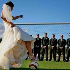 Soccer perfect wedding. I like this concept... get me to throw a football, my dude is in the open while the groomsmen are running around to stop the play.... i like it lol