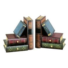 """Aparador de livros. Tem poucos livros para exibir? Com esses aparadores, dá para dar uma enganada e aumentar a coleção! Em madeira, os aparadores tem quatro """"livros"""" cada um. Bombay Jewel. http://casa.abril.com.br/materia/15-aparadores-para-segurar-os-livros-com-estilo#3"""