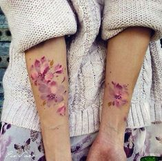 Pink Flower Watercolor Tattoo for Girls.