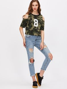 Shop Olive Green Camo Print Open Shoulder T-shirt online. SheIn offers Olive Green Camo Print Open Shoulder T-shirt & more to fit your fashionable needs.