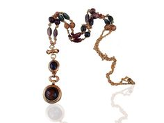 Brown and Green Vintage Beads Necklace  Bohemian Jewelry by GoldDa, $41.00