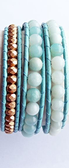 Amazonite and Gold Czech Glass Beaded Turquoise Leather Wrap Bracelet #amazonite #bracelet