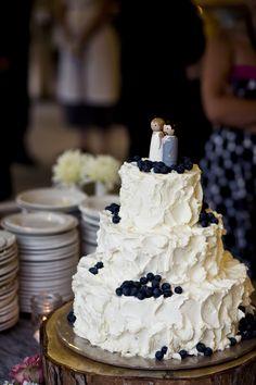 Messy Buttercream Blueberry Wedding Cake