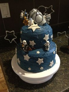Star Wars Cake! Night Sky and Lego bricks to add to the top.