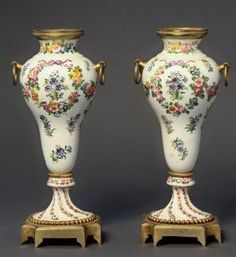 Pair Of French Bronze & Sevres Porcelain Urns