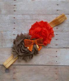 Brown, Orange and Gold Shabby Flower Headband