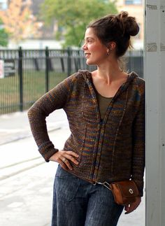 Knitty: Fall 2007  Great shaping on this zip front knit cardigan. Without the hood, this would be lovely, too.
