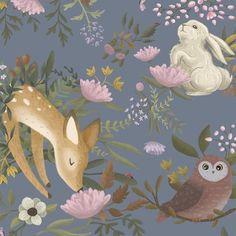 Oh, Deer! Deer Wallpaper, Rabbit Wallpaper, Woodlands Wallpaper, Bedroom Wallpaper, Wallpaper Wallpapers, Nursery Wall Murals, Nursery Paintings, Quirky Decor, Little Girl Rooms