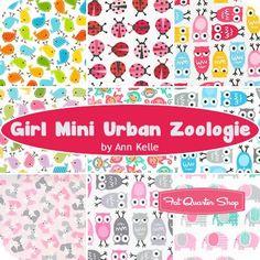 Girl Mini Urban Zoologie Fat Quarter Bundle<br />Ann Kelle for Robert Kaufman Fabrics