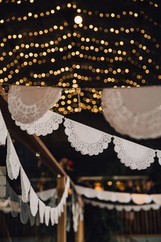 Lace Doily Bunting | Stylish Autumnal Wedding At Stone Barn Cotwolds With Bride In Jesus Peiro