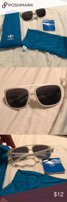 Adidas white aviator Adidas white aviator with blue adidas logo Adidas Accessories Sunglasses