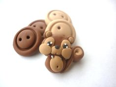 Polymer clay buttons.Squirrels shaped buttons by JustFingerPrint, $8.00