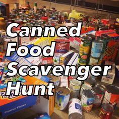 A canned food scavenger hunt is a great way for your youth to have a blast, get adults involved, and help out your community. It is easily adaptable no matter if your group is 5 or Youth Group Activities, Youth Games, Church Activities, Youth Groups, Sensory Activities, Youth Group Events, Mutual Activities, Outdoor Activities, Prayer Stations