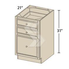 VDB12-3 - Jupiter Maple Antique White Vanity Drawer Base Cabinet (3 Drawers) - Deerfield Assembled Kitchen Cabinet
