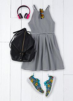 Stripes, like Paris, are always a good idea. Featured product includes: SO black and white striped dress, Beats headphones in neon pink and Apt. 9 backpack. Get the right spring mix at Kohl's.