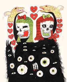 But about Grimes' drawings: they're equal parts goth and adorable, combining bows and hearts with black depths and eyeballs.   Look Inside Grimes' Gothy, Twee Sketchbook