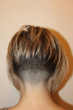 perfect fade nape angular bob blonde highlights...LOVE