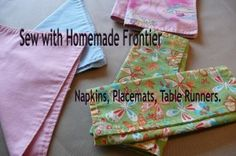 Learn to sew with Homemade Frontier...Table Linens!