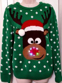 UGLY CHRISTMAS In July SWEATER womens medium m tacky Rudolph REINDEER Light up #LisaInternational #ScoopNeck