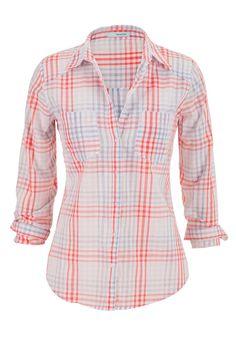 lightweight plaid button down boyfriend shirt