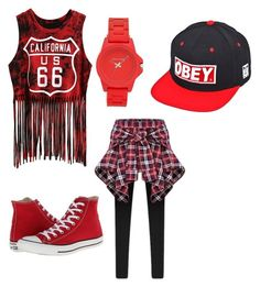 """Red haul"" by gurveenpanesar ❤ liked on Polyvore featuring OBEY Clothing, Vince Camuto and Converse"