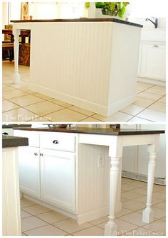 Kitchen island idea. Like the bead board look, and one day when we redo the kitchen, I would like to extend the island like this.