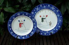 "Snowman Plate Versus Snowman Platter.  Both with ""Reach for the Stars"" design. ~ Winter Wonderland Collection"