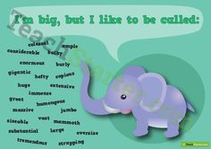 Big Synonym Poster Teaching Resource