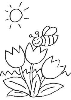 Ausmalbilder Blumen und Biene 01