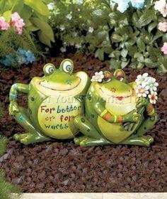 Frog Couple Fun Frog Garden Statues Cute Colorful Garden Porch Patio Yard Decor