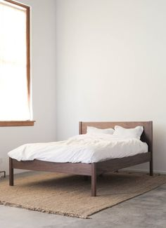 Solid Walnut Queen Bed Frame and Headboard from Hedge House