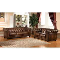 Amax Leather Stanley Park II Top Grain Leather Sofa and Loveseat Set, Brown Leather Sofa And Loveseat, Sofa And Loveseat Set, Leather Chesterfield, Couch, Sofa Chair, Living Room Sets, Living Room Chairs, Living Room Furniture, Chesterfield Living Room