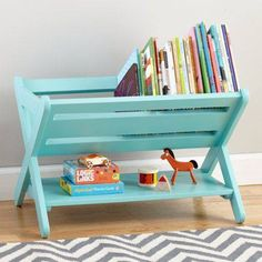 paint a folding wooden dish rack and it becomes a book stand for kids!
