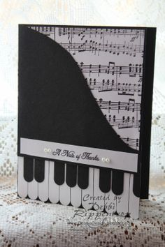 """A Note of Thanks Stamps: Music NotesWheel Paper: Basic Black, Whisper White Paper Size: A2 4.25"""" x 5.5"""" Ink: Basic Black Accessories: Word Window Punch, Basic Pearls"""