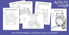 We've just added five new colour by number designs for autumn - an apple tree, autumn tree, squirrel, tractor and owl. Activity Village, Autumn Activities For Kids, Autumn Crafts, Apple Tree, Autumn Trees, Squirrel, Number, Colour, Children