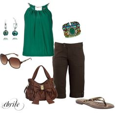 """""""Headed to the Mall"""" by cbrile on Polyvore.  The green could be a different shade."""
