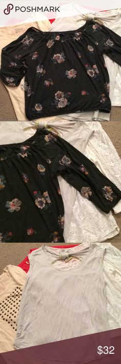 """$27 nwot lot of aeo boho style tops size large Nwot! All aeo brand, all size large. ✔The price in the beginning of the title of my listings is the bundle price. These prices are valid through the """"make an offer"""" feature after you create a bundle. These bundle orders must be over $15. Ask me about more details if interested.  ❌No trades ❌No holds ❌No model photos ❌No additional measurements ✔️everything pictured is included American Eagle Outfitters Tops"""