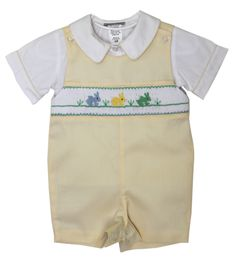 Baby boy yellow Easter Shortall with coordinated shirt