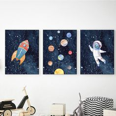 pictures of outer space Outer Space Nursery, Space Themed Nursery, Nursery Themes, Nursery Decor, Wall Decor, Bedroom Decor, Boy Wall Art, Wall Art Prints, Outer Space Decorations
