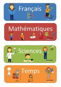 Des étiquettes des principales matières pour afficher l'emploi du temps de la journée.
